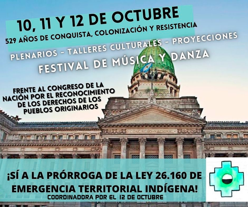 Actividades frente al congreso de la nación por los derechos de los pueblos y naciones indígenas